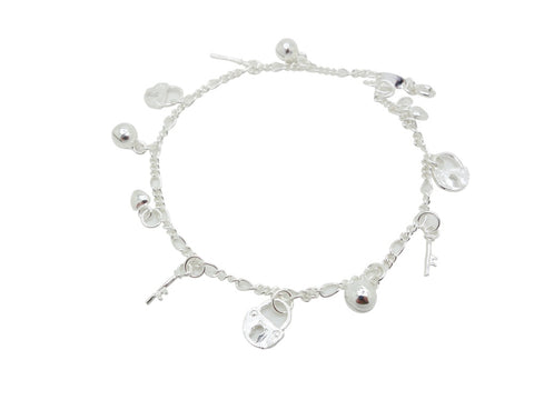 22cm Sterling Silver Anklet Lock Key Accents