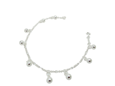 21cm Sterling Silver Anklet with Ball Accents