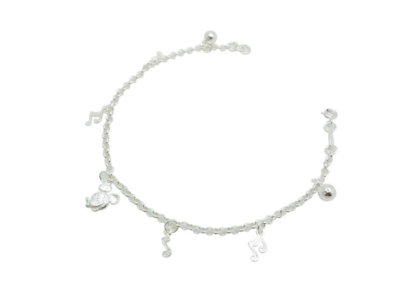 21cm Sterling Silver Anklet with Musical Note Accents
