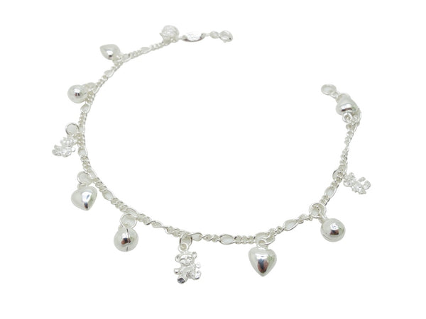 22cm Sterling Silver Anklet Heart Teddy Bear  Accents