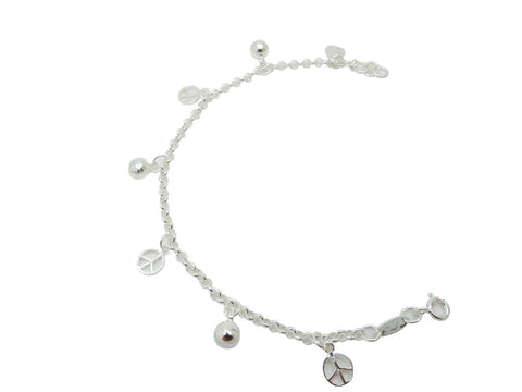 18cm Sterling Silver Anklet Peace Sign and Sphere Accents