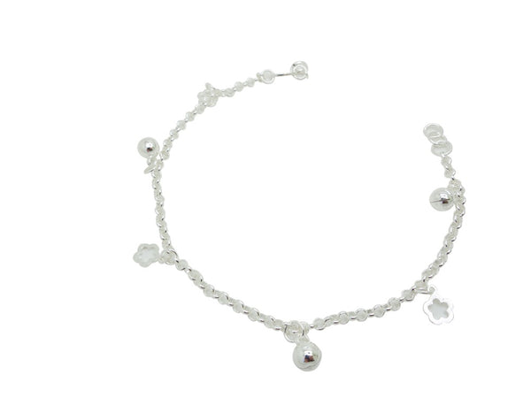 21cm Sterling Silver Anklet with Ball and flower Accents
