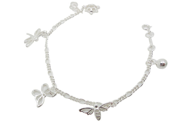 17cm Sterling Silver Bracelet Dragonfly Butterfly Turtle Accents