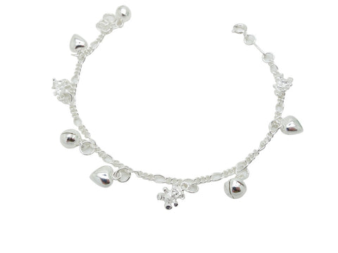 17cm Sterling Silver Bracelet Heart Teddy Bear  Accents