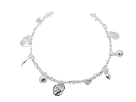 17cm Sterling Silver Bracelet Lock Key Accents