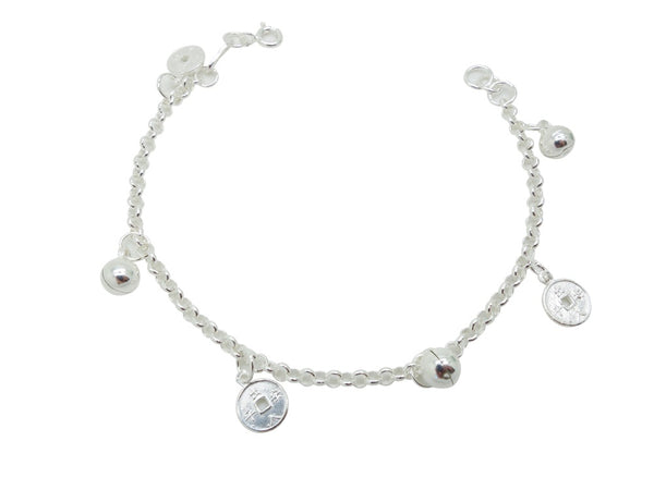 18cm Sterling Silver Bracelet with ball charms