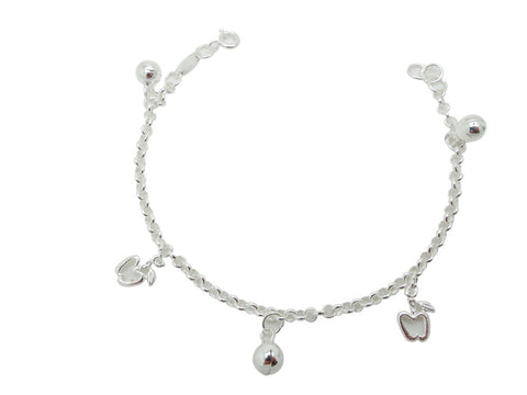 18cm Sterling Silver Bracelet with ball and apple charms