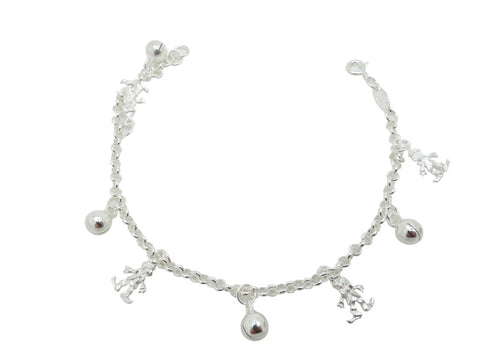 17cm Sterling Silver Bracelet with clown and ball charms