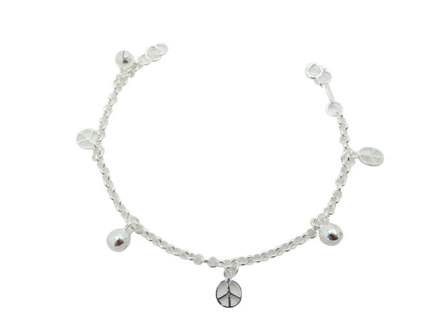 18cm Sterling Silver Bracelet with Peace and Ball charms