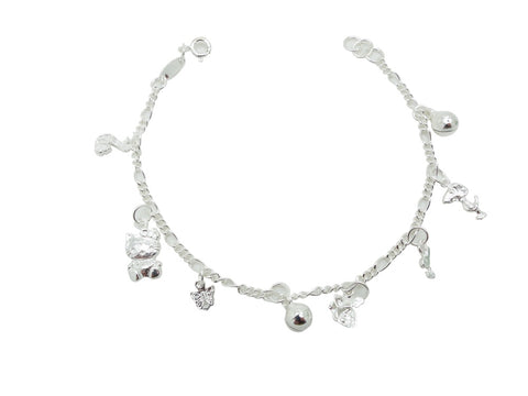18cm Sterling Silver Bracelet with peacock cat and ball charms