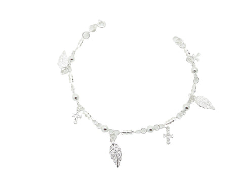 18cm Sterling Silver Bracelet with Leaf Ball and Cross Charms
