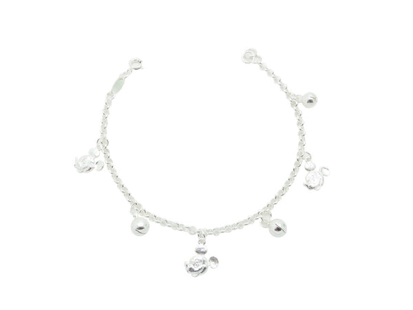 18cm Sterling Silver Bracelet with Mouse and Bell Charms
