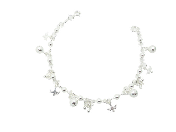 17cm Sterling Silver Bracelet with Dove and Bell Charms