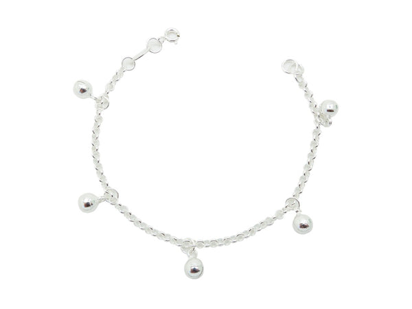 18cm Sterling Silver Bracelet with Bell Charms