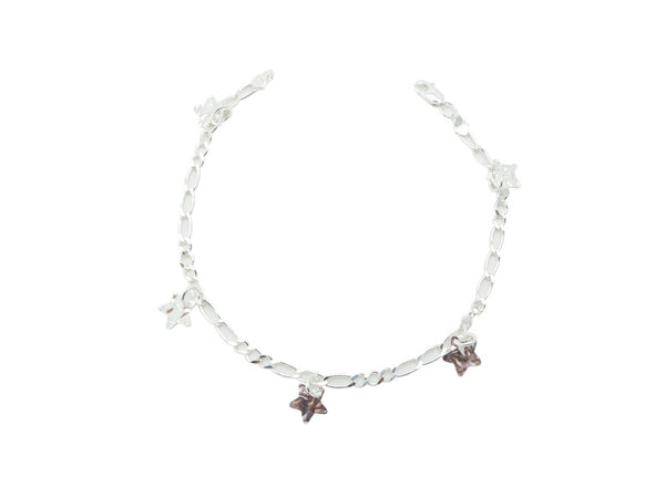 18cm Sterling Silver Bracelet with Star charms and Elongated Link