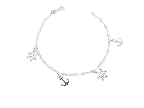 17cm Sterling Silver Bracelet with Anchor and Steering Wheel Charms
