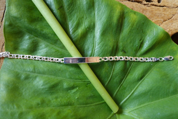 Handcrafted solid sterling .925 silver ID bracelet from Taxco, Mexico