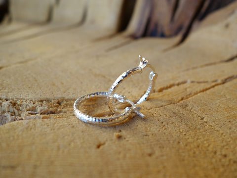 17mm Sterling Silver HOOP Earrings Diamond Cut