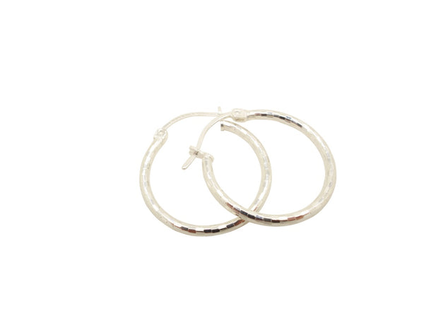 22mm Sterling Silver HOOP Earrings Diamond Cut