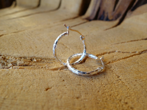18mm Sterling Silver HOOP Earrings Diamond Cut