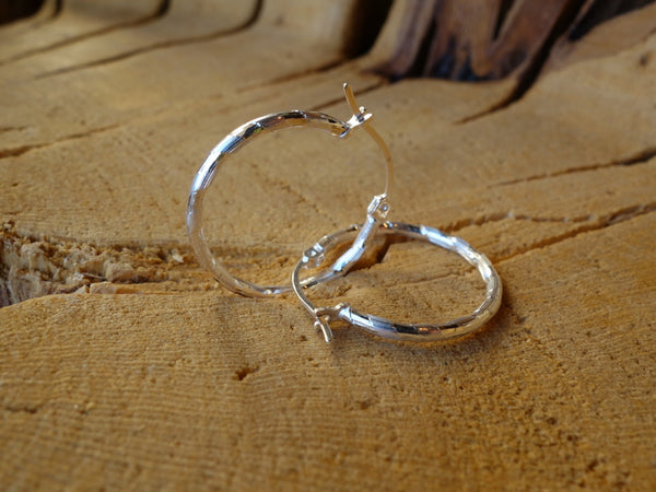 24mm Sterling Silver HOOP Earrings Diamond Cut