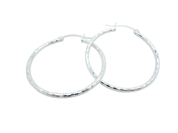 33mm Sterling Silver HOOP Earrings Diamond Cut