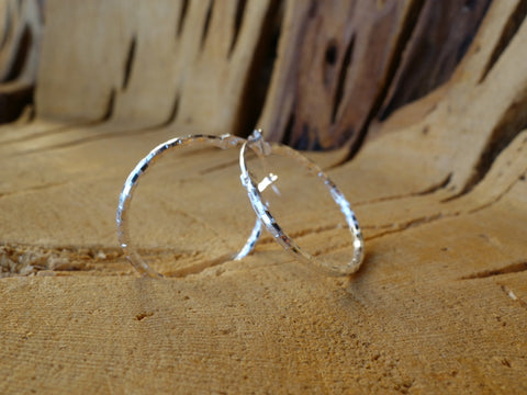 27mm Sterling Silver HOOP Earrings Diamond Cut