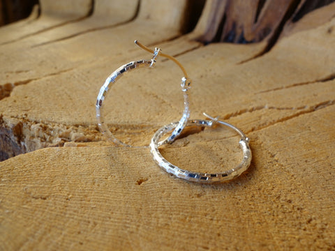 23mm Sterling Silver HOOP Earrings Diamond Cut