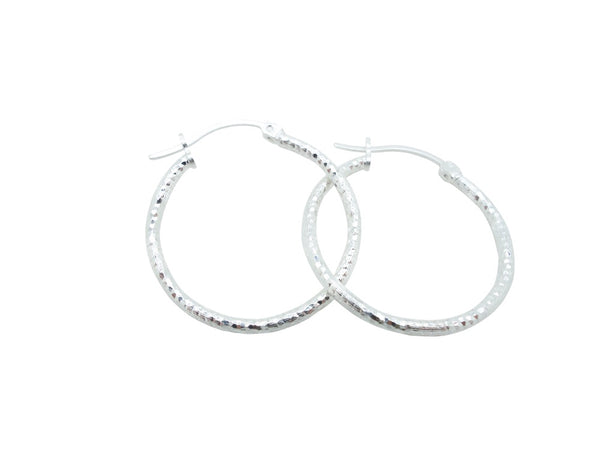 26mm Sterling Silver HOOP Earrings Diamond Cut