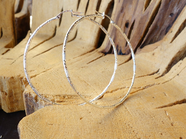 62mm Sterling Silver HOOP Earrings Diamond Cut