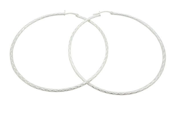 69mm Sterling Silver HOOP Earrings Diamond Cut