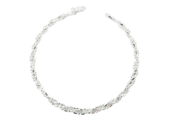 "7"" Sterling Silver Bracelet with three strands of dash dot dash chain"