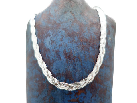 "17"" Sterling Silver Chain Braided and Flat woven design"