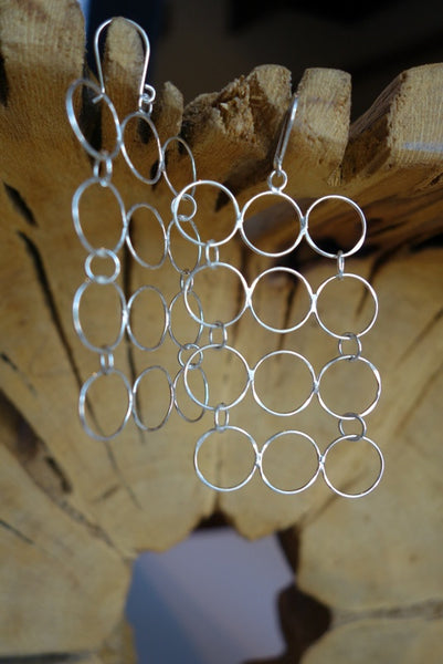 Handcrafted sterling .925 silver hoop earrings from Taxco, Mexico.