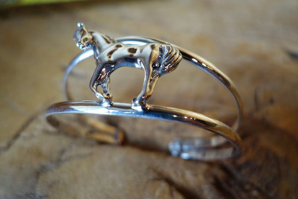 Handcrafted solid sterling .925 silver bracelet (horse) from Taxco, Mexico
