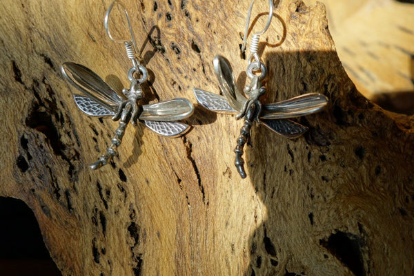Handcrafted solid sterling .925 silver dragonfly earrings from Taxco, Mexico