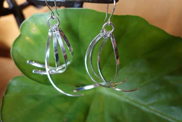 Handcrafted solid sterling .925 silver dangle earrings from Taxco, Mexico