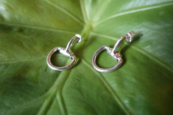 Handcrafted solid sterling .925 silver stirrup earrings from Taxco, Mexico