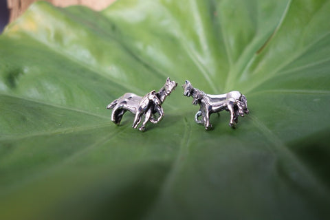 Handcrafted solid sterling .925 silver horse earrings from Taxco, Mexico