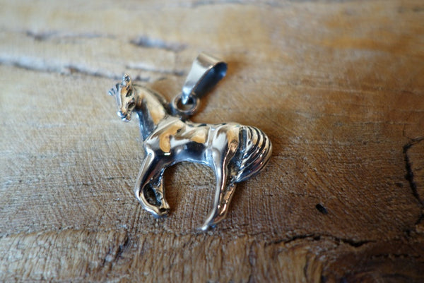 Handcrafted solid sterling .925 silver horse pendant from Taxco, Mexico
