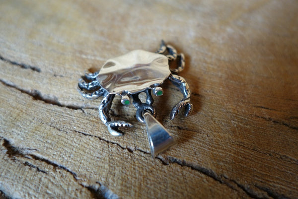 Handcrafted solid sterling .925 silver crab pendant from Taxco, Mexico