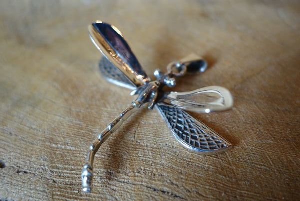 Handcrafted solid sterling .925 silver dragonfly pendant from Taxco, Mexico