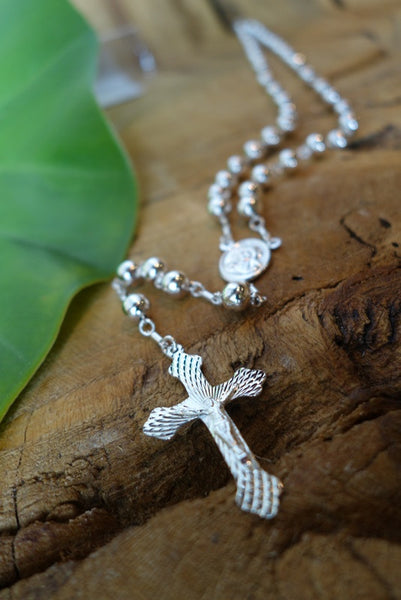Handcrafted solid sterling .925 silver rosary from Taxco, Mexico