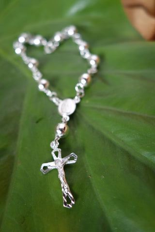 Handcrafted solid sterling .955 silver rosary from Taxco, Mexico