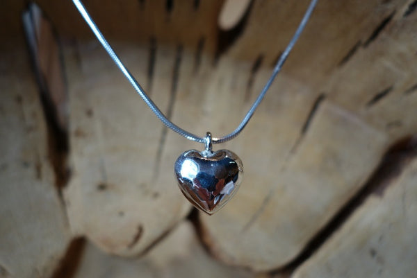 Handcrafted solid sterling .925 silver heart pendant from Taxco, Mexico