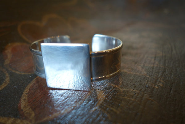 Handcrafted solid sterling .925 silver cuff bracelet from Taxco, Mexico