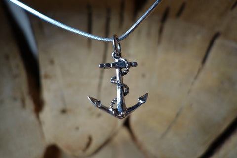 Handcrafted solid sterling .925 silver anchor pendant from Taxco, Mexico