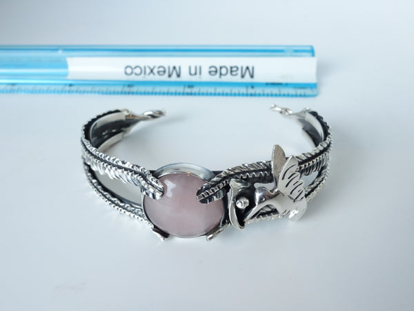 No Mas! Rose Quartz encaded with Leaf Hummingbird and Calilily 925 Silver Bracelet