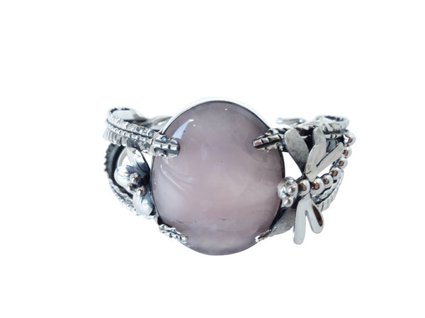 No Mas! Rose Quartz encaded with Leaf Dragonfly 925 Silver Bracelet