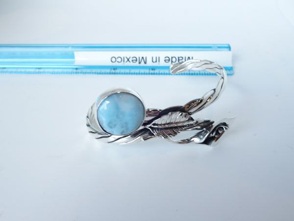 No Mas! Larimar with Calilily Braided 925 Solid Silver Bracelet